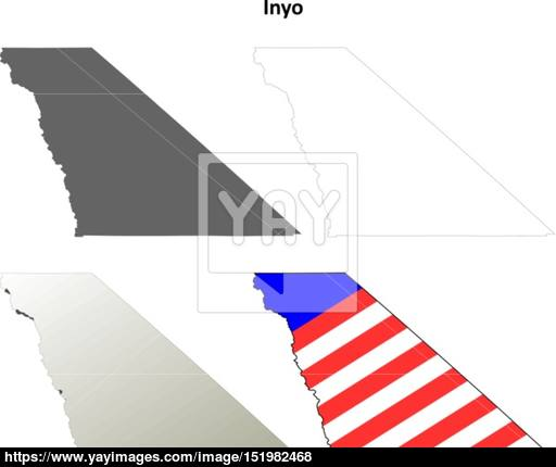 512x430 Inyo County, California Outline Map Set Vector