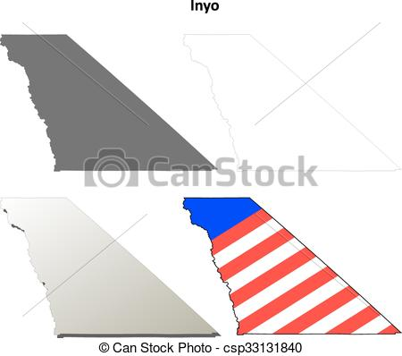 450x398 Inyo County, California Outline Map Set. Inyo County,... Eps