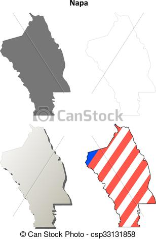 308x470 Napa County, California Outline Map Set. Napa County, California