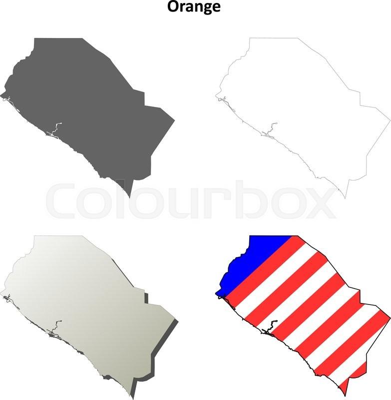 783x800 Orange County, California Blank Outline Map Set Stock Vector