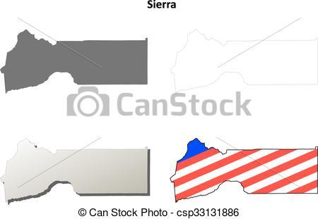 450x311 Sierra County, California Outline Map Set. Sierra County