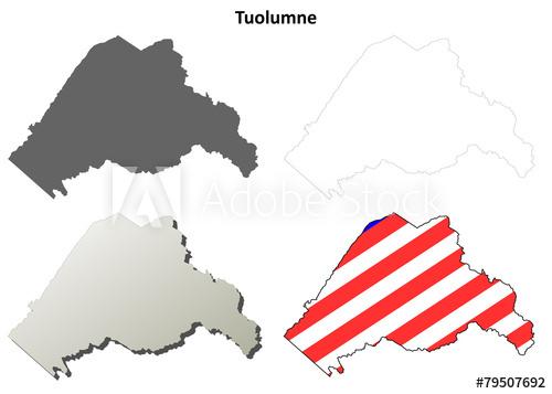 500x357 Tuolumne County (California) Outline Map Set