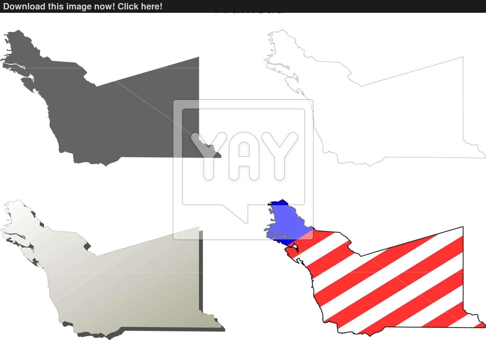 1600x1119 Alameda County, California Outline Map Set Vector