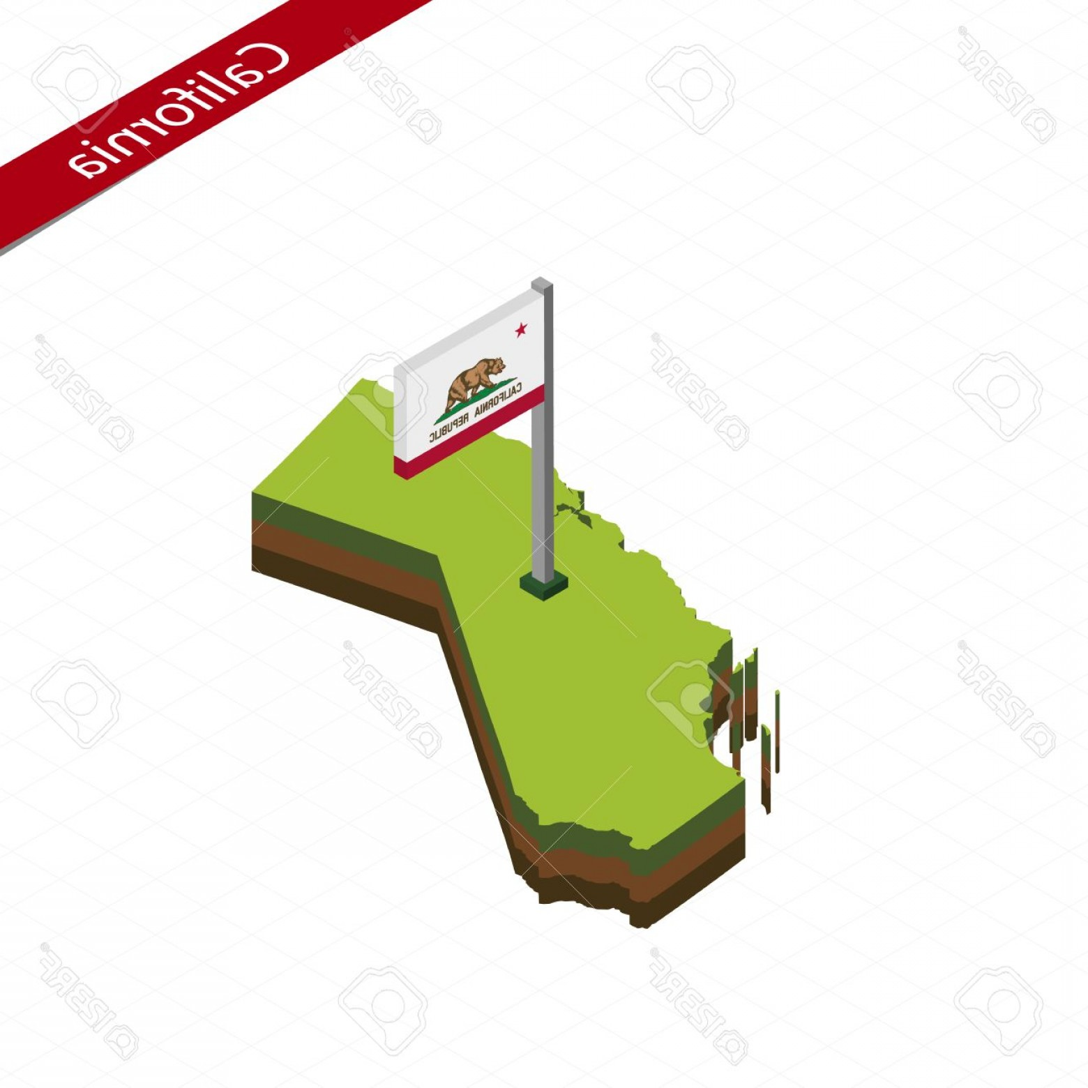 1560x1560 Photostock Vector Isometric Map And Flag Of California D Isometric