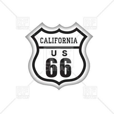 400x400 Route 66 Label With California Lettering. American Road Icon