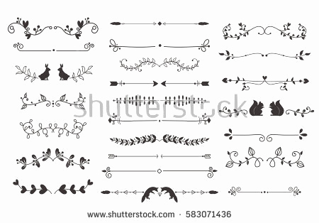 450x314 Calligraphy Lines Vector Unique Divider Set Vector Download Free