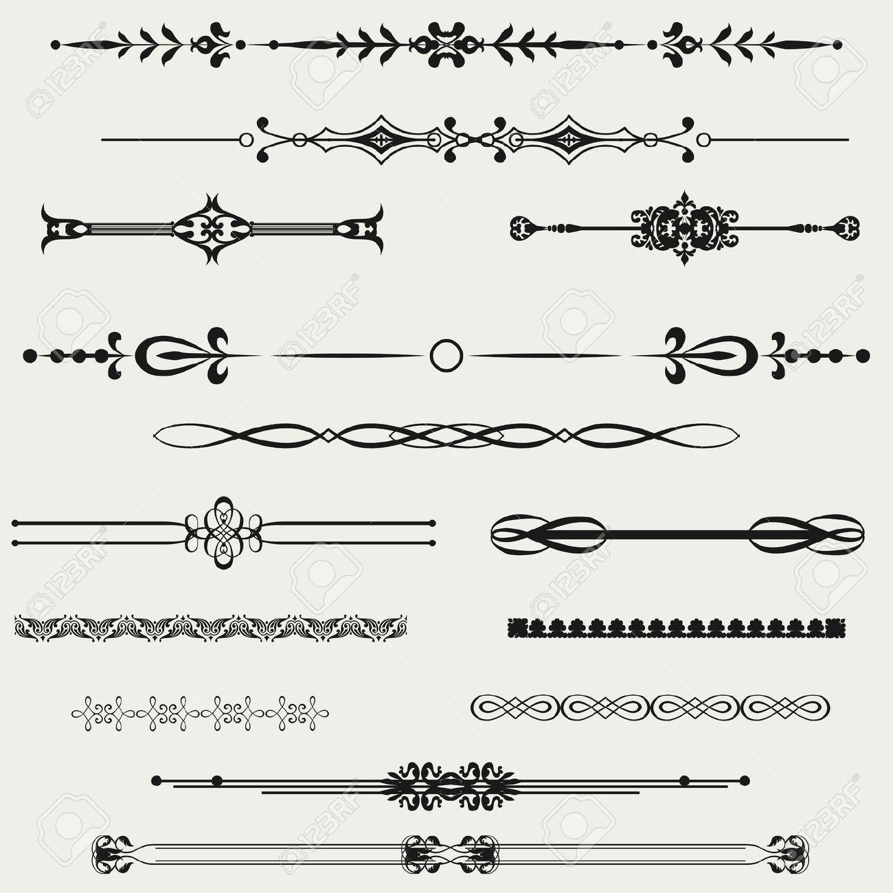 1300x1300 Calligraphy Clipart Borders Horizontal