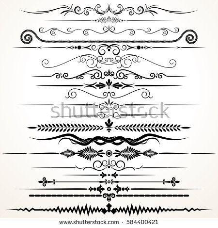 450x470 Decorative Ornament. Ornamental Rule Lines. Vector Decoration Set