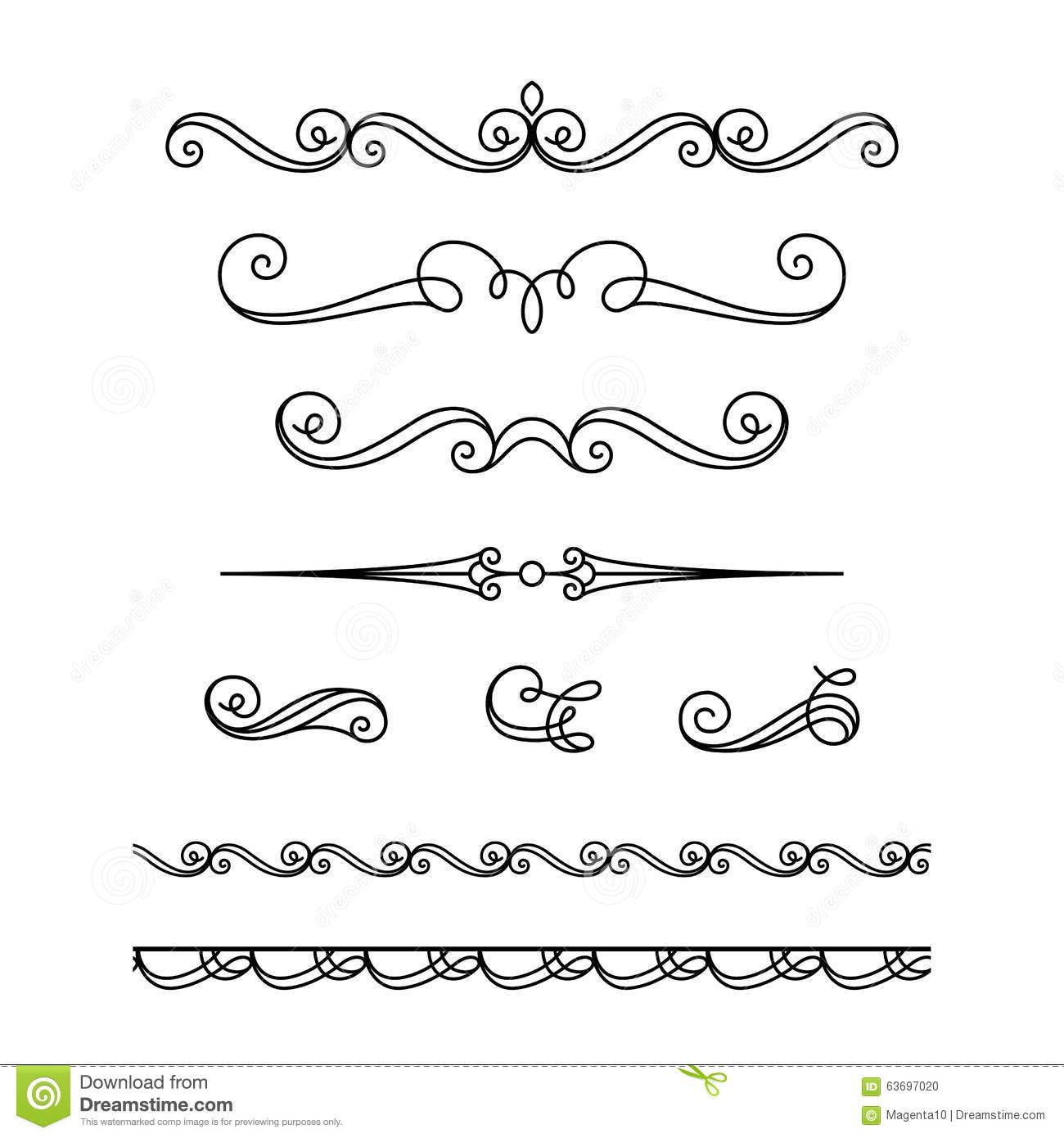 1300x1390 Set Of Calligraphic Vignettes And Flourishes Stock Vector