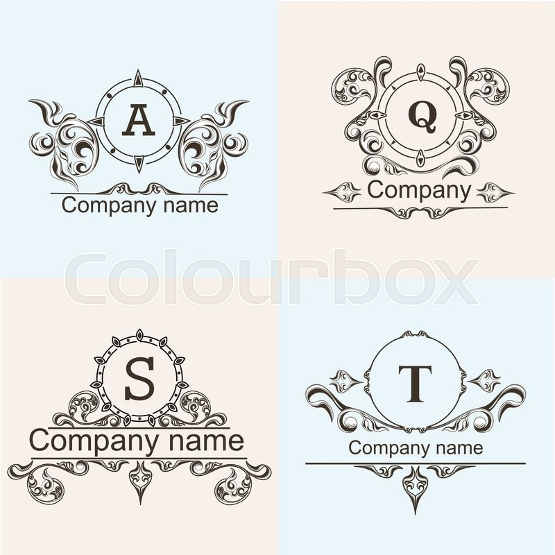 800x800 Set Ornamental Company Logos Template Flourishes Calligraphy