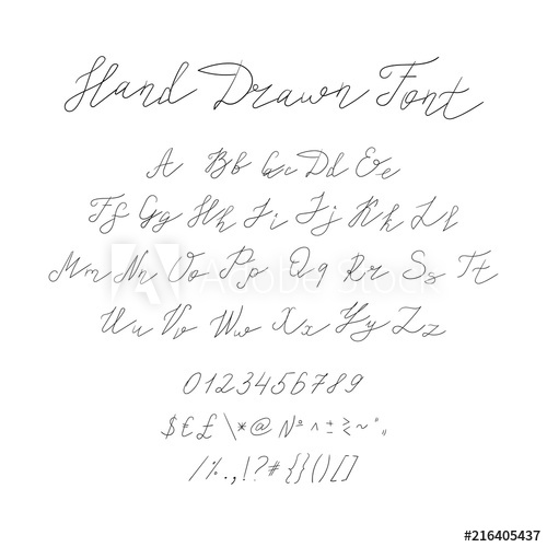 500x500 Vector Hand Drawn Font, Calligraphic Handwritten Typeset, Black
