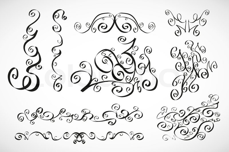 800x534 Vector Calligraphic Design Elements Smooth Floral Lines Stock