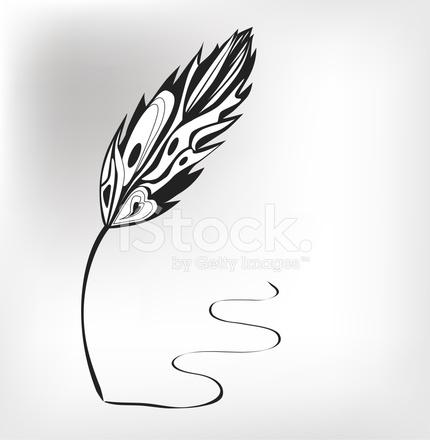 430x440 Feather Calligraphic Pen Vector Background Stock Vector
