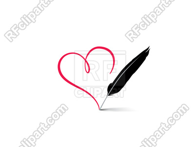 400x302 Hand Drawn Heart Calligraphic Written By Feather Pen Vector Image