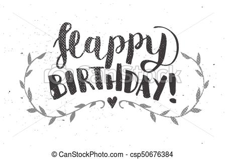 450x317 Happy Birthday Hand Drawn Calligraphy Pen Brush Vector.