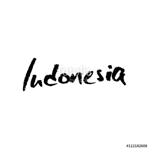 500x500 Indonesia, Hand Lettering Vector. Modern Calligraphy Pen And Ink