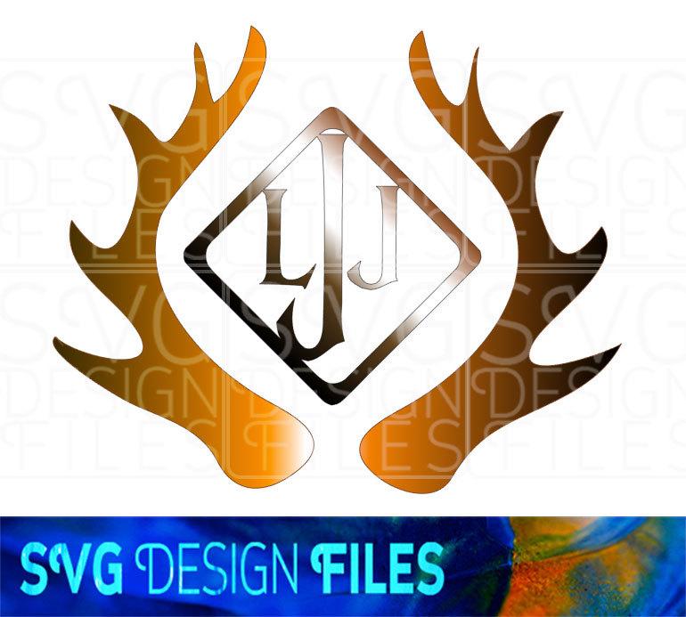 770x693 Deer Antler Monogram Frames. Stag Antler Svg Vector Files For