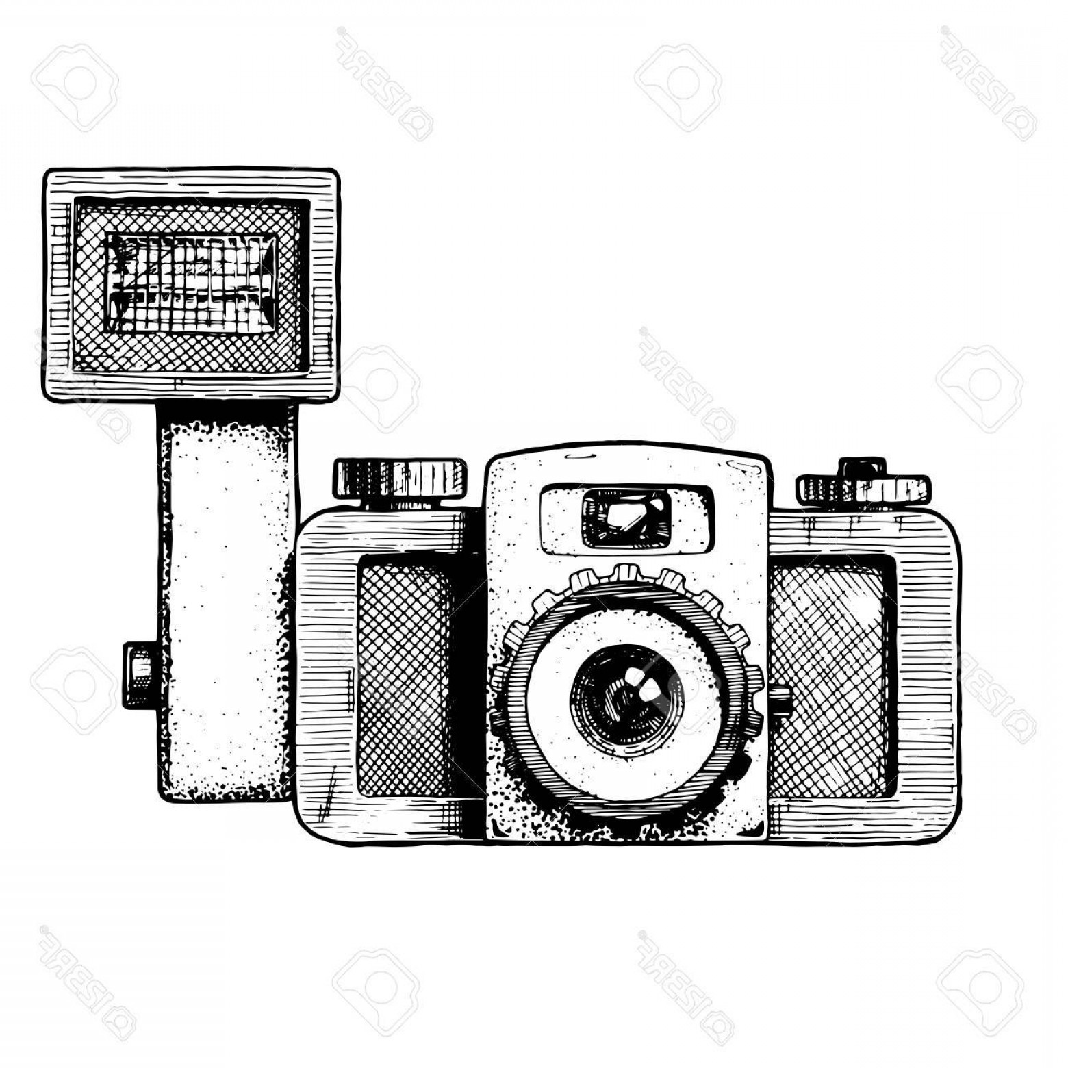 1560x1560 Photostock Vector Toy Camera With Attached Flash Vector Hand Drawn