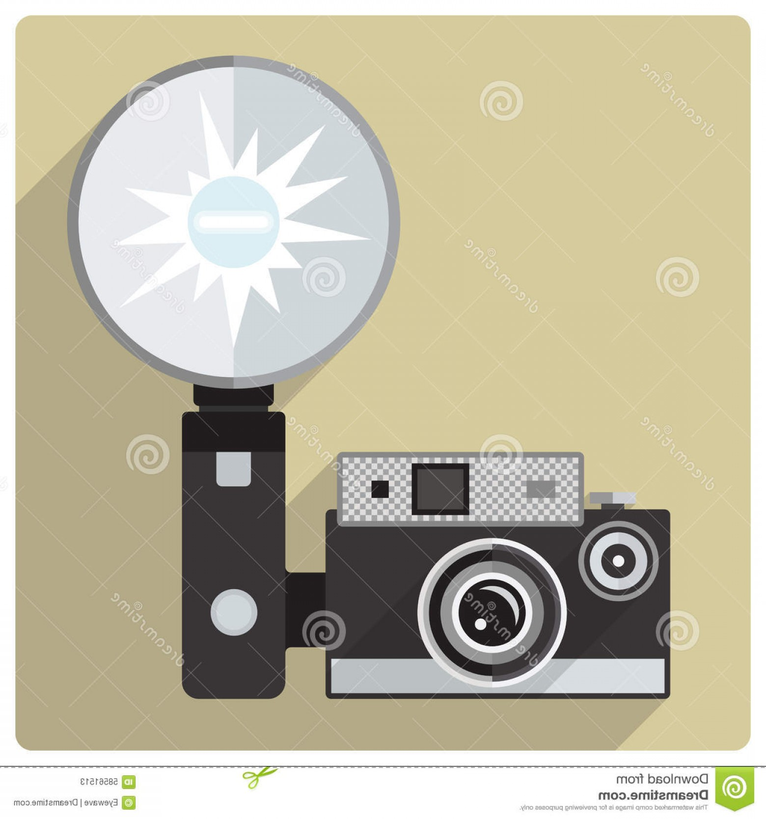 1560x1668 Stock Illustration Vintage Compact Camera Flash Vector Icon Flat