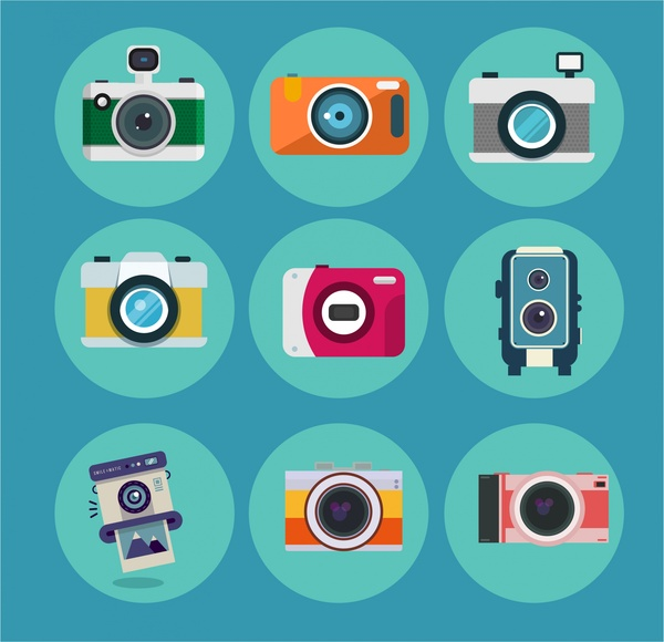 600x580 Camera Icons Isolated In Various Colored Styles Free Vector In
