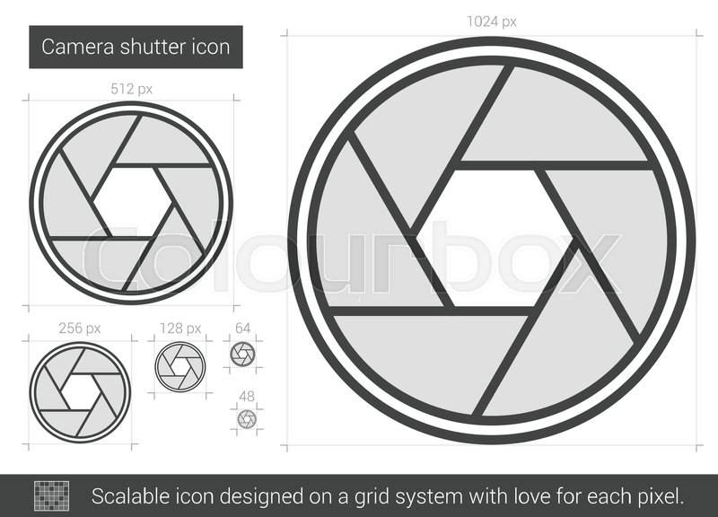 800x576 Camera Shutter Vector Line Icon Isolated On White Background