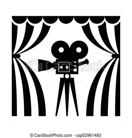 450x470 Cinema Theatre Film Camera. Cinema Icon. Film Camera Flat Vector