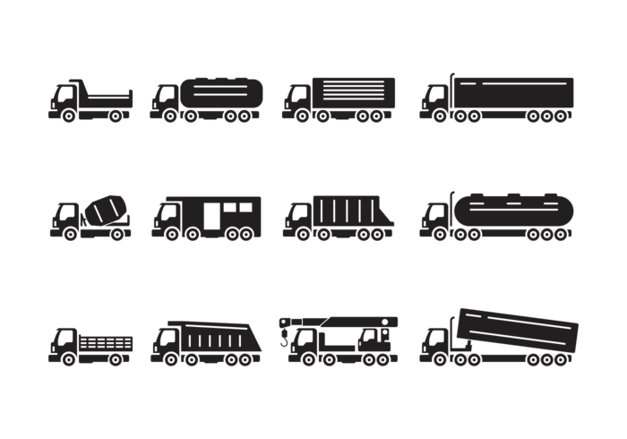 700x490 Camion Silhouettes Vector