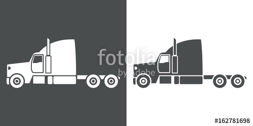 500x250 Icono Plano Cabina Camion Gris Y Blanco Stock Image And Royalty