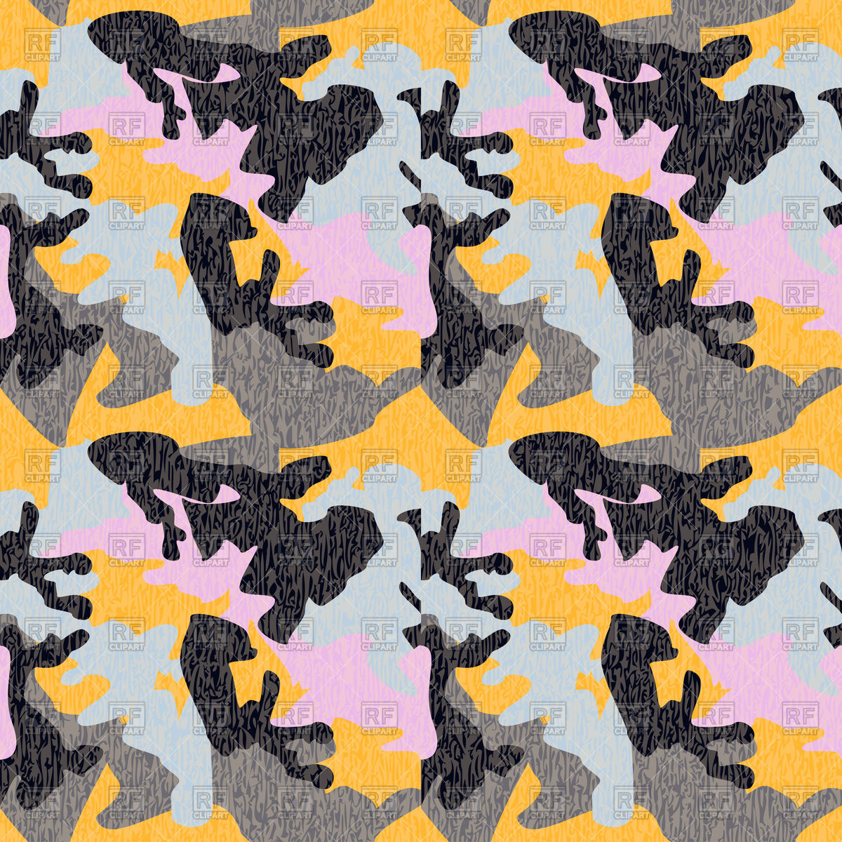 1200x1200 Camouflage Seamless Pattern In Yellow, Blue And Pink Colors Vector