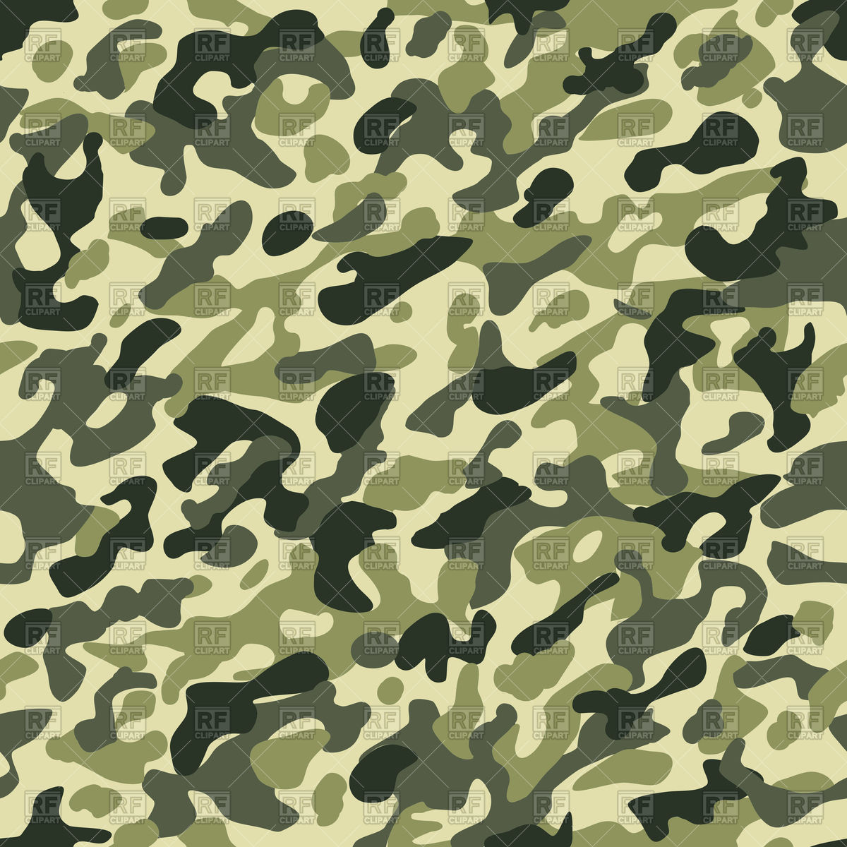 1200x1200 Camouflage Seamless Pattern In Green Khaki Colors Vector Image