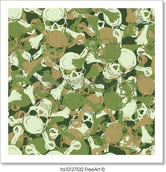 561x581 Free Art Print Of Vector. Seamless Skull Camouflage Pattern