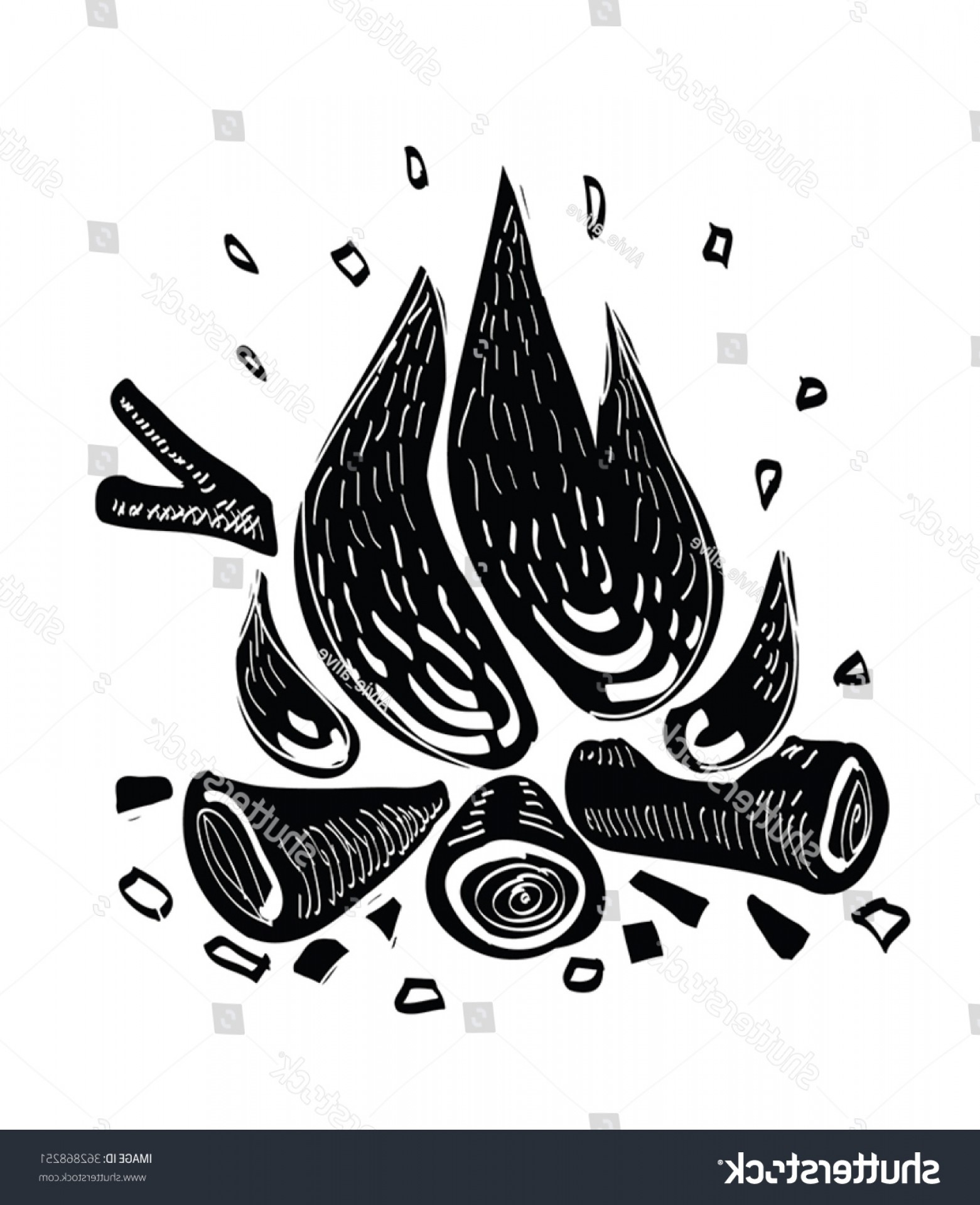 1561x1920 Campfire Vector Illustration Black Ink Silhouettes Arenawp