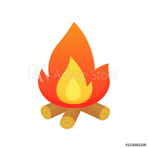 500x500 Campfire Vector Isolated