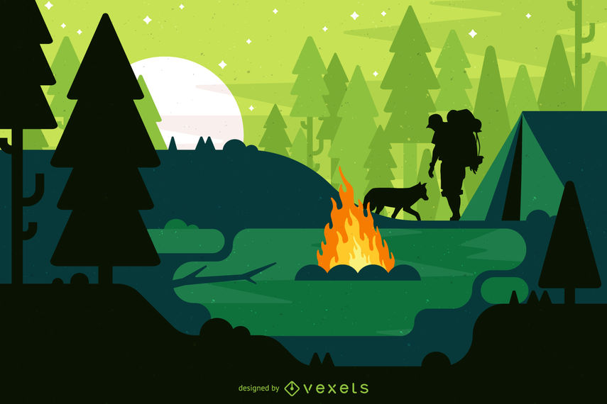 855x570 Camping Landscape Illustration With Campfire
