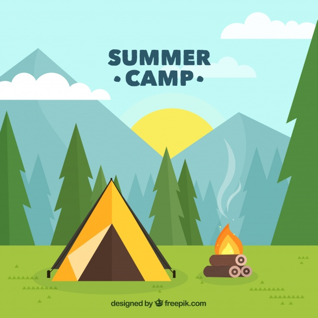626x626 Summer Camp Background With Tent And Campfire Vector Free Download