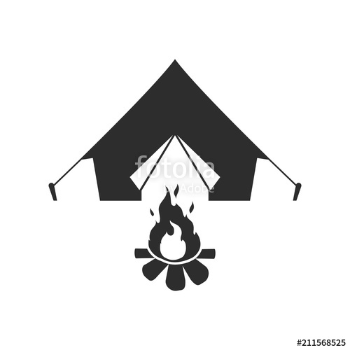 500x500 Tent And Campfire. Vector. Stock Image And Royalty Free Vector