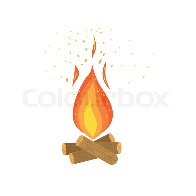 800x800 Bonfire Burning On Firewood, Campfire Vector Illustration Isolated