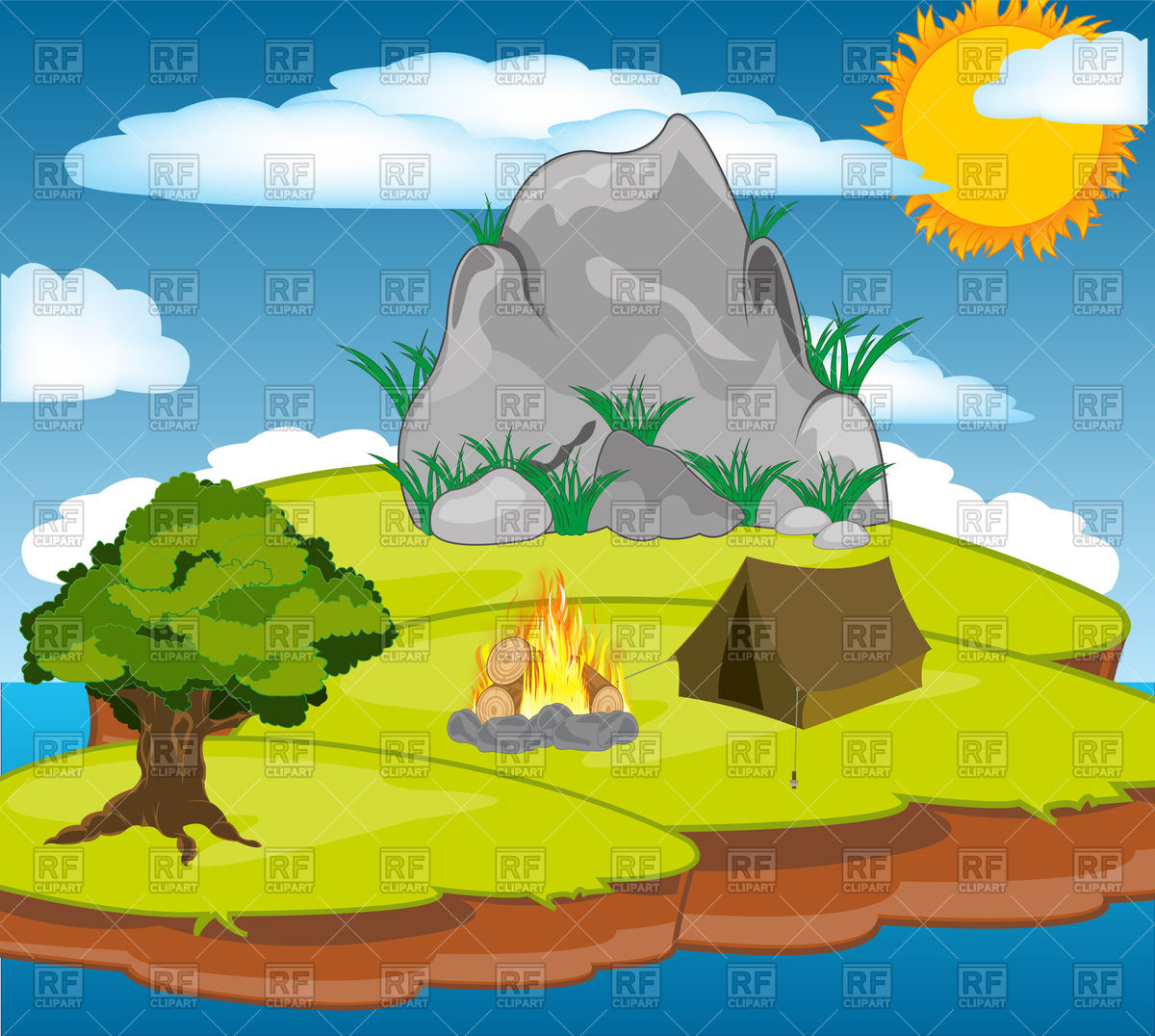 1200x1076 Small Island In Ocean And Tent With Campfire Vector Image Vector