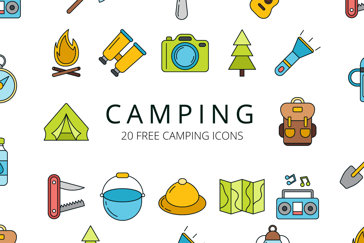 1440x960 Camping Vector Free Icon Set