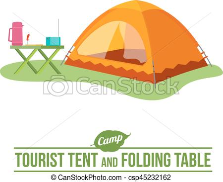 450x366 Camping Vector Flat Icon. Camping Background With Tourist Tent And