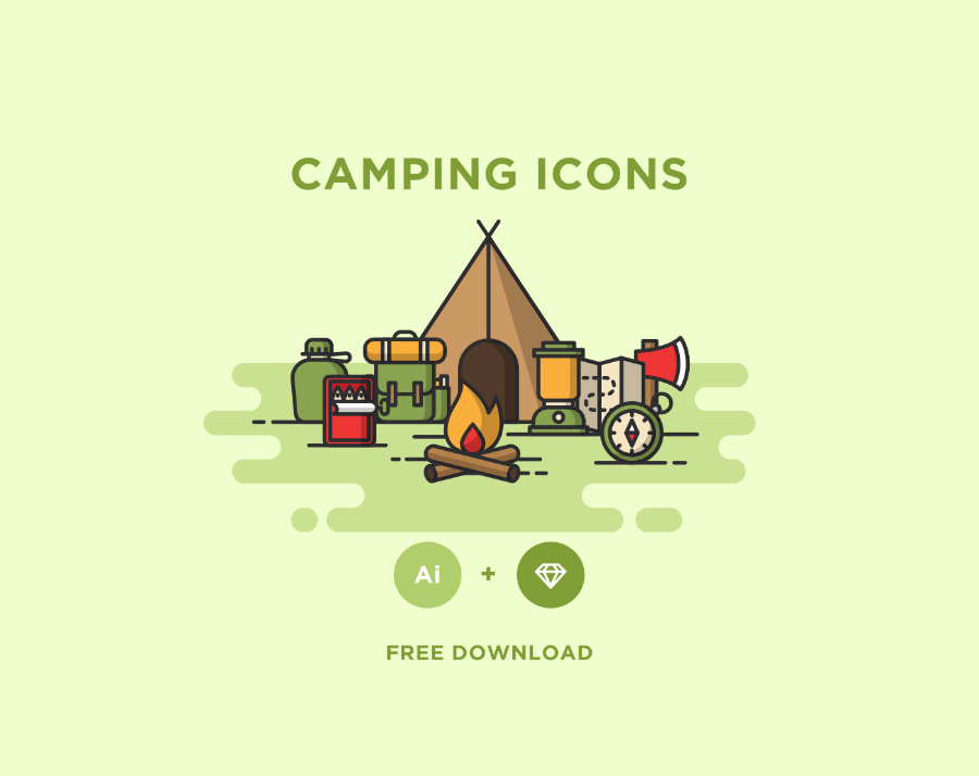 900x714 Free Minimal Camping Vector Icons Free Design Resources