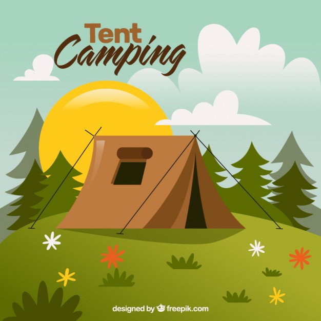 626x626 Hand Drawn Landescape With A Tent Camping Vector Free Download