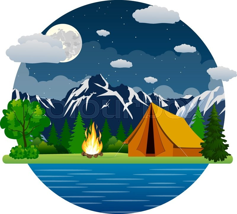 800x722 Summer Landscape Tent And Bonfire In Mountains Near Lake. Solitude