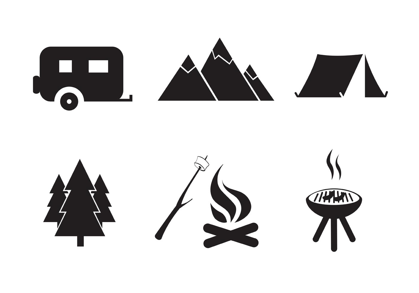 1400x980 Vector Free Camping Icon Set