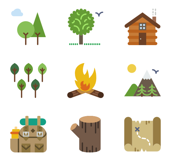 600x564 Camping Icons