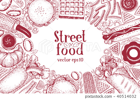 450x318 Hand Drawn Fast Food Banner. Street Food Top View Background. Hand