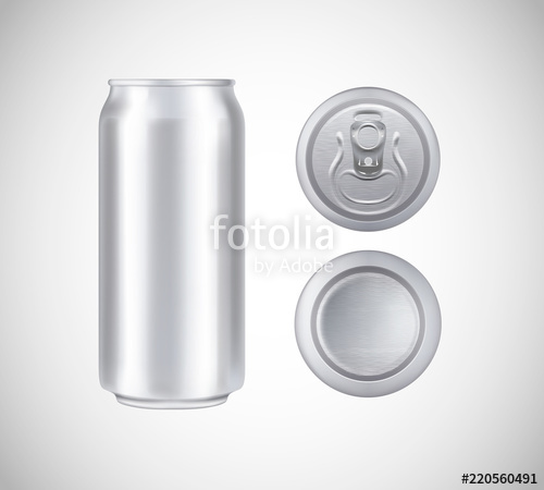 500x450 Metal Can Top, Front, Bottom View. Can Vector Visual 500 Ml. For