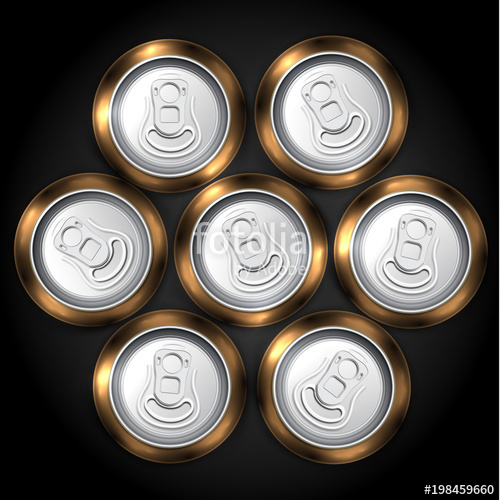 500x500 Realistic Pack Of 7 Beer Or Soda Can From The Top, Vector
