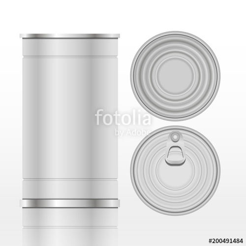 500x500 Tin Can With Ring Pull Front Top Bottom View Eps 10 Vector Stock