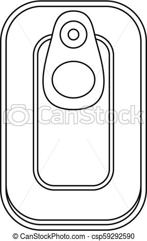 287x470 Top View Fish Can Icon, Outline Style. Top View Fish Can Icon